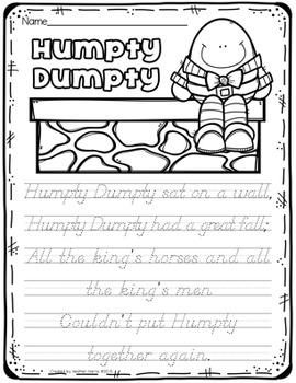 Nursery Rhyme Handwriting No Prep Pages