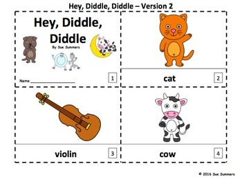 Nursery Rhyme Hey Diddle Diddle 2 Emergent Reader Booklets