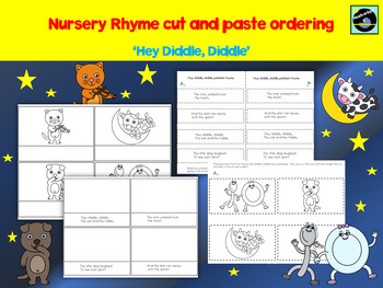 Nursery Rhyme 'Hey diddle, diddle' cut and paste ordering activity
