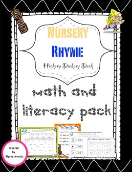 "Nursery Rhyme ""Hickory Dickory Dock"" - Math and Literacy pack"
