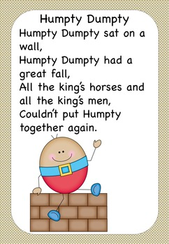 Humpty Dumpty Nursery Rhyme Pack AUS UK