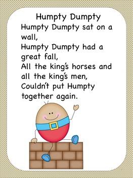 Humpty Dumpty Nursery Rhyme Pack US
