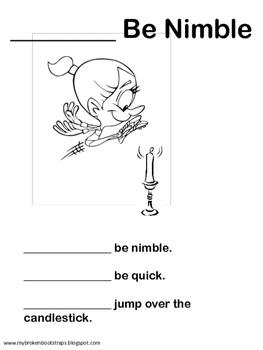 Nursery Rhyme Jack Be Nimble Activities