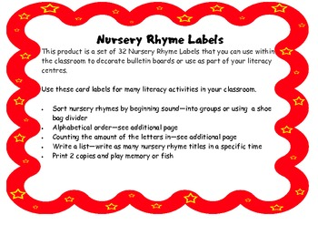 Nursery Rhyme Labels and Activities