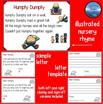 Nursery Rhyme Printables: Write a Letter to a Nursery Rhyme Character