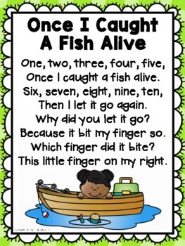 Nursery Rhyme Math Freebie 1 2 3 4 5 Once I Caught A Fish Alive 1144836 on Ten Frame Worksheets
