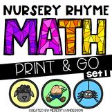 Nursery Rhyme Math - Color by Number, Print & Go K-2  SET 1