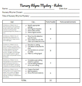 Nursery Rhyme Mystery - Creative, Common Core-aligned Writing Project