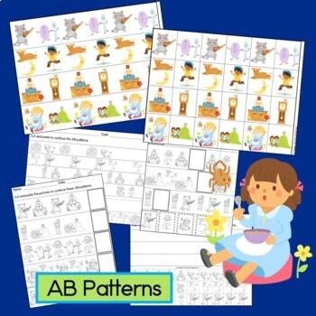 Nursery Rhyme Patterns Math Center with AB, ABC, AAB & ABB Patterns