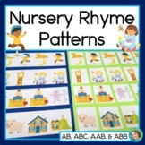 Nursery Rhyme Patterns Math Center with AB, ABC, AAB & ABB Patterns