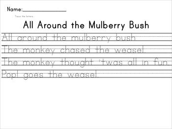 Nursery Rhyme Penmanship Writing Activity