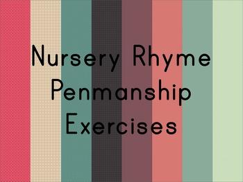Nursery Rhyme Penmanship Writing Activity Vol.1