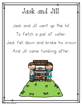 Nursery Rhyme Posters and Mini Books:  Jack and Jill
