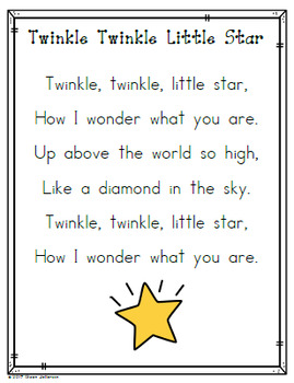 5cd0fc54a Nursery Rhyme Posters and Mini Books: Twinkle Twinkle Little Star
