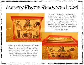 Nursery Rhyme Resources Label FREEBIE