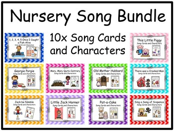 Nursery Rhyme Song Bundle 10x Cards and Characters