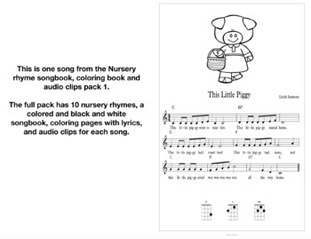 Nursery Rhyme Songbook, Coloring Page, and Audio Clip Pack 1 SAMPLER