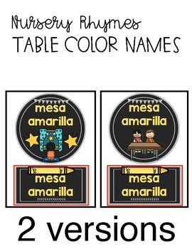 Nursery Rhyme Table Colors