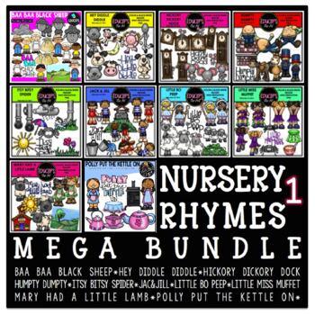 Nursery Rhymes 1 Clip Art Mega Bundle {Educlips Clipart}