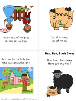 Nursery Rhymes: Baa, Baa, Black Sheep Printable Activities (SASSOON)
