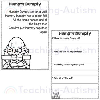 Nursery Rhymes Reading Comprehension Passages and Questions