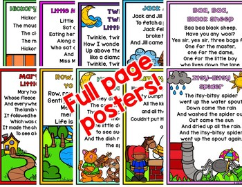 Nursery Rhymes INTERACTIVE BROCHURES and FULL PAGE POSTERS