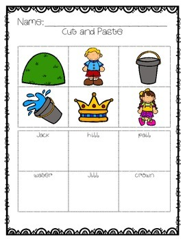 Nursery Rhyme / Literacy Center {Jack and Jill}