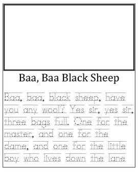 Nursery Rhymes-Manuscript Writing Practice for Primary-Shadow Style