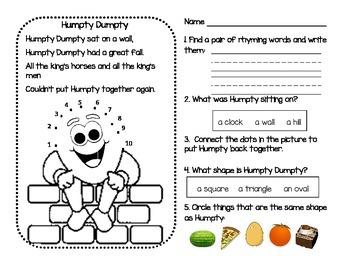 Nursery Rhymes : No Prep Do Nows