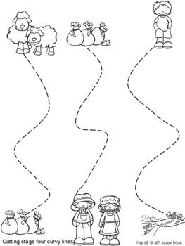 Nursery Rhymes Prewriting and Cutting Skills Practice Baa Baa Black Sheep