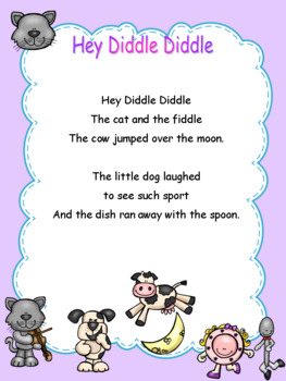 Nursery Rhymes Prewriting and Cutting Skills Practice Hey Diddle Diddle