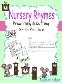Nursery Rhymes Prewriting and Cutting Skills Practice Hickory Dickory Dock