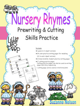 Nursery Rhymes Prewriting and Cutting Skills Practice Little Bo Peep