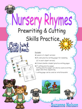 Nursery Rhymes Prewriting and Cutting Skills Practice Mary Had a Little Lamb