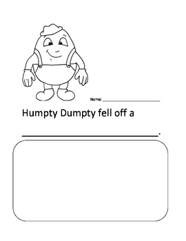 Nursery Rhymes Response Sheet--Mother Goose!