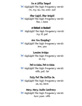 Nursery Rhymes Titles with Site Word Lists