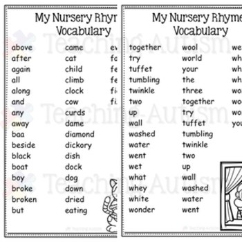 Nursery Rhymes Word Search Activity