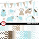 Nursery Zoo Blue Clipart and Digital Paper by Poppydreamz