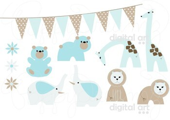 Nursery Zoo Blue Clipart and Digital Paper by Poppydreamz