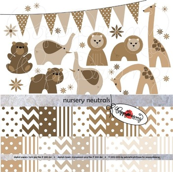 Nursery Zoo Neutrals Clipart and Digital Paper by Poppydreamz