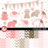 Nursery Zoo Pink Clipart and Digital Paper by Poppydreamz