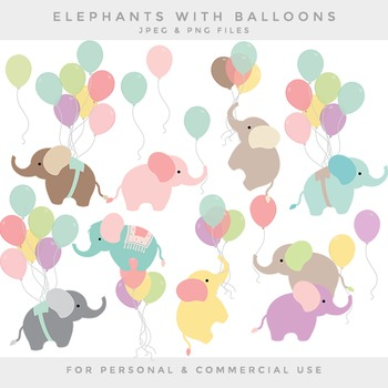 Nursery clipart - baby elephant clip art balloon elephants whimsical