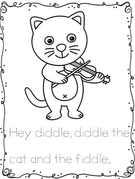 Nursery rhyme 'Hey diddle, diddle' color and trace