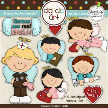 Nurses Are Real Angels 1-  Digi Clip Art/Digital Stamps - CU Clip Art