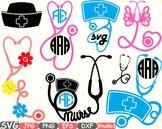 Nurses Frame Silhouette Nurse Stethoscope doctor clipart Heart love medic 676sv