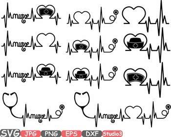 Nurses Frame Silhouette Nursing Nurse Stethoscope medic clipart Heart love 37sv