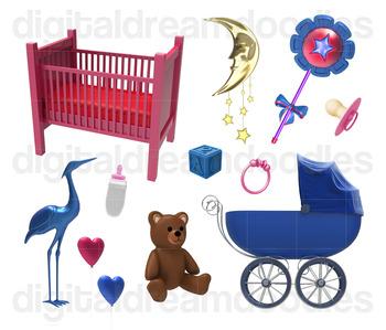 Nusery Clip Art - Boy & Girl Baby Room Digital Graphics