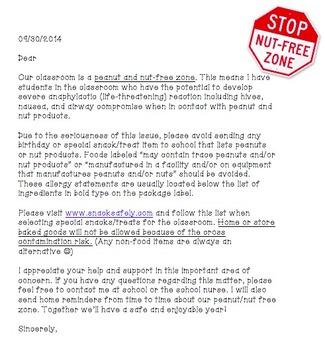 Nut Free Allergy Letter