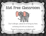 Nut Free / Peanut Free Classroom Poster Chalkboard Theme Style