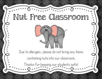 Nut Free / Peanut Free Classroom Poster Chalkboard Theme Style